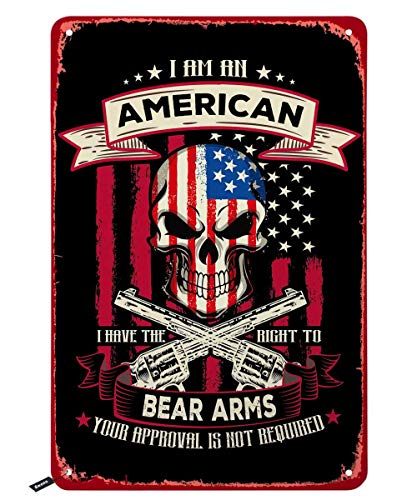 Swono American Flag with Skull and Gun Tin Signs,I Am an American I Have The Right to Bear Arms Vintage Metal Tin Sign for Men Women,Wall Decor for Bars,Restaurants,Cafes Pubs,12x8 Inch