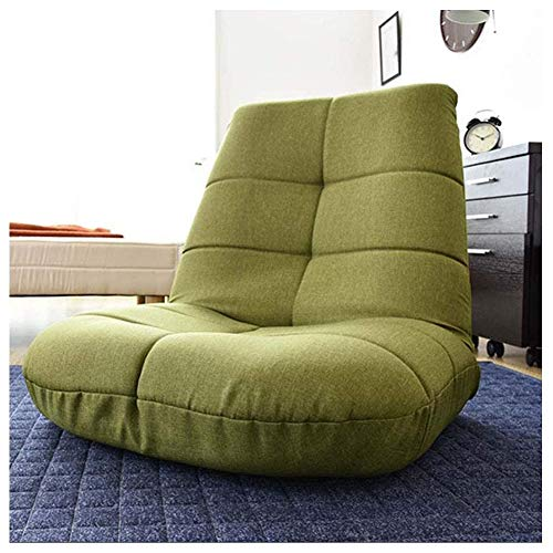 Lazy Lounge Sofa Green Respaldo Ajustable Silla Plegable para el Piso Tatami Cojín Suave Lectura de Cama Individual