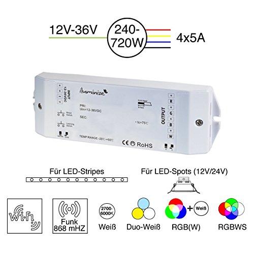 iluminize LED-Controller Funk/WiFi: 750Hz (flimmerfrei), 4x 5A, für weiße/duo-weiße (CCT)/RGB/RGB+W/RGBW LEDs, 12V-36V Konstantspannung, für LED-Streifen/-Lampen mit Konstantspannung (Funk/WiFi 4x 5A)