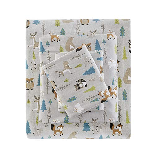 True North by Sleep Philosophy Cozy Flannel 100% Cotton Ultra Soft Cold Weather Bedding Set  Full  Multi Forest Animals 4 Piece