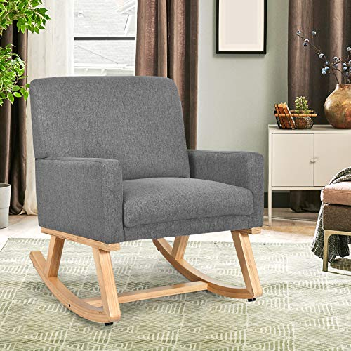 COSTWAY Relax Rocking Chair, Fabric Upholstered Single Sofa Armchair with Solid Wood Legs, Modern Padded Leisure Rocker Chairs for Home Living Room Bedroom (Grey)