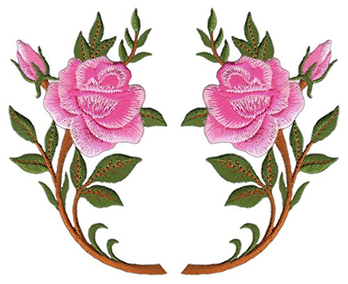 Blumen Rose Rosa Pink Set 2 Stück Aufnäher Bügelbild