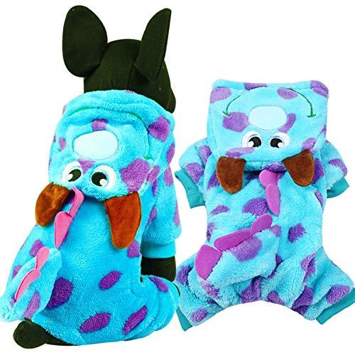 Hamiss Haustier-Kleidung für Hunde, weich und warm, Korallen-Samt, Puzzle-Kostüm, niedlich, Party, Kleidung, Hoodie, Mantel mit Kapuze, Drachen, Blau, Winter Cosplay, blau, S