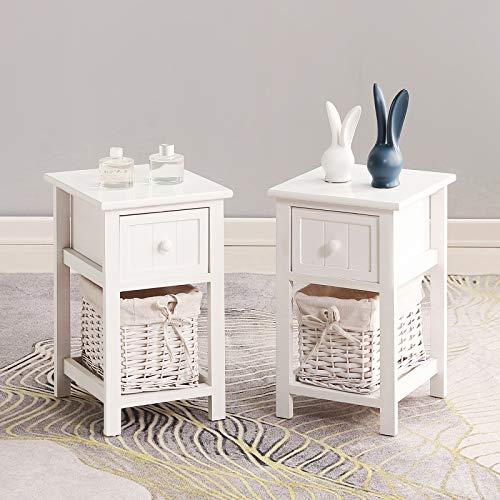 Artist Hand 2er Set Nachttisch weiß Nachtschrank Nachtkommode mit 1 Schublade & 1 Rattankorb