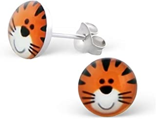Cute Tiger Face Earrings Girls 925 Stering Silver Posts Studs (E19707)