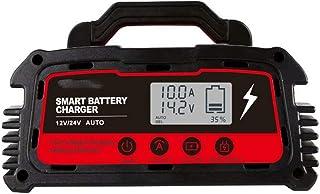 Bilbatteriladdare 12V/24V Pulsreparationsladdare Överspänningsskydd Temperaturövervakning för bil,lastbil,motorcykel,båt,S...