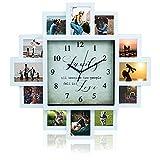 12 relojes de pared multifoto, reloj de pared digital grande, marco de fotos, decoración moderna para el hogar, sala de estar, dormitorio, cocina, decoración al aire libre (50,7 x 50,7 x 4,5 cm)