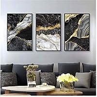 抽象壁アートブラックホワイトキャンバス絵画大理石モザイクと黄金の静脈ポスタープリント壁の写真フレームなし