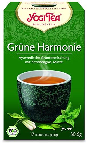 Yogi Tea 10x Grüne Harmonie Bio Yogi Tee I ayurvedische Gewürz-Tee-Mischung auf Grüntee-Basis I 170 Tee-Beutel I Grüner Tee 10 Päckchen