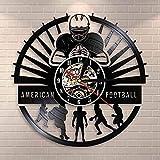 wttian Horloge Murale en Vinyle Joueur de Football Horloge Murale Sport vestiaire Design Moderne Rugby Disque Vinyle Horloge Murale Cadeaux de Fan de Football