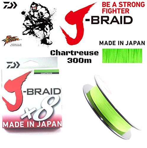 Daiwa J- Braid X8, chartreuse, 0.18mm, 12.0kg / 26.5lbs, 300m - sedal de pesca trenzada redonda