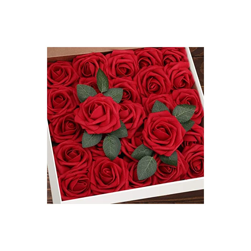 silk flower arrangements artificial flowers red roses w/stem, rustic farmhouse decor for home, wedding , kitchen, and office, ideal bridal shower party home decorations 25pcs