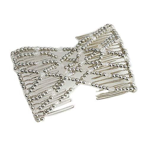 Lyguy Haarklammer für Damen und Frauen, elastisch, mit Perlen, Kunstperlen, dehnbar, Haarnadel, Schleife, Doppelkämme, Haar-Accessoires, Weiß