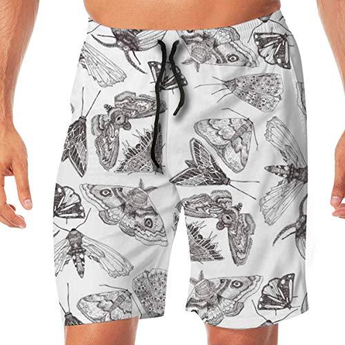 Moth Tekening Patroon Snelle Droge Elastische Kant Boardshorts Beach Shorts Broek Zwembroek Trunks Badpak met Zakken.