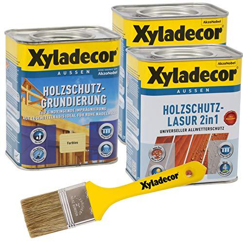 Xyladecor 2in1 Holzschutzlasur + Grundierung im Set mit Pinsel, UV Holz-Lasur für außen (2x 0,75L + 0,75L, teak)