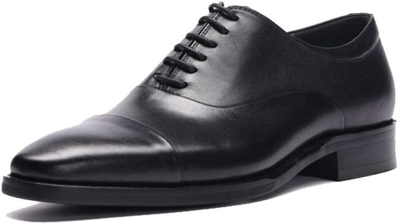 7bb32cc66eb6 NIUMT Men's Leather shoes shoes shoes Lace-up shoes Round Head ...