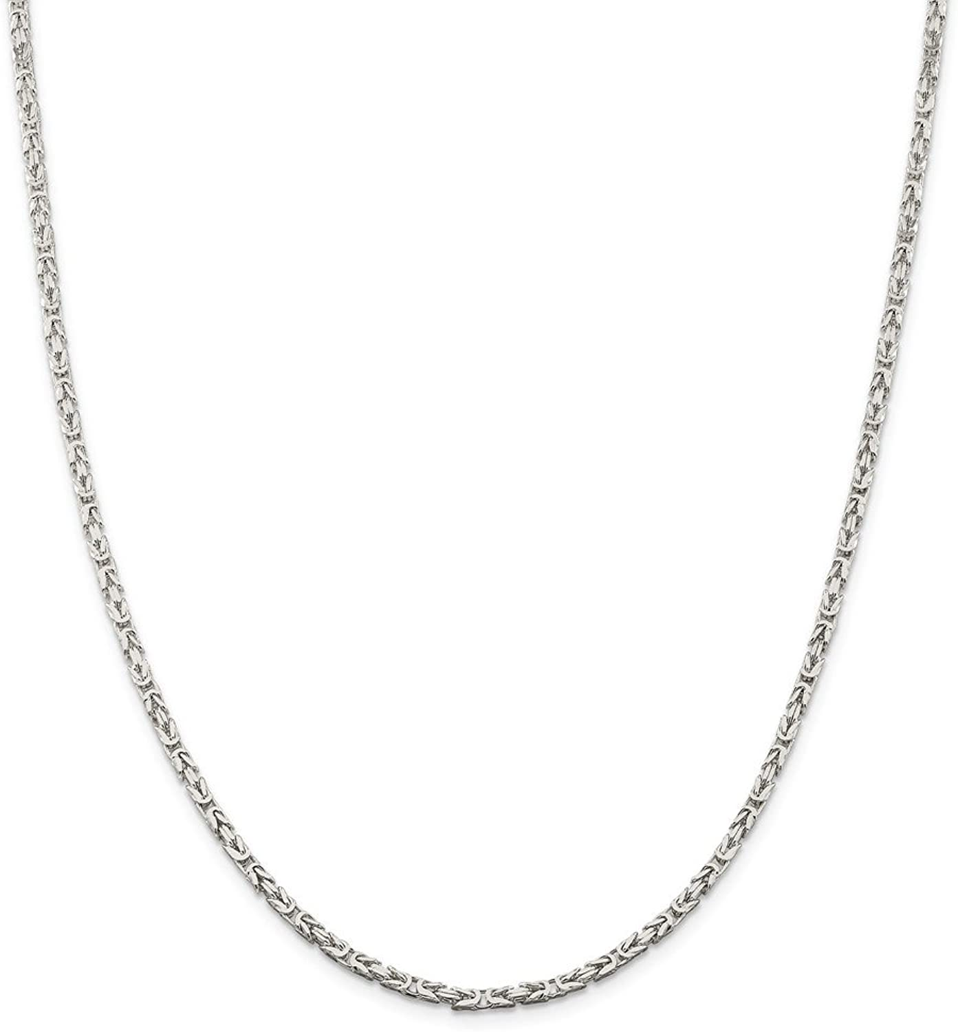 Beautiful Sterling silver 925 sterling Sterling Silver 2.5mm Byzantine Chain
