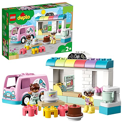 LEGO 10928 DUPLO Tortenbäckerei Spielset mit Café-Wagen, Kuchen und Cupcakes, Große Steine für Kleinkinder ab 2 Jahren