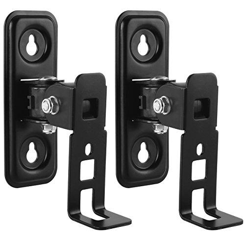 deleyCON 2 Lautsprecher-Boxen Wandhalterung für SONOS Play 1 Schwenkbar Drehbar Neigbar Full-Motion Halterung Wand-Halter Multiroom Speaker - Schwarz