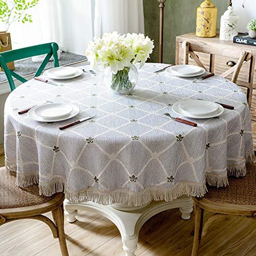 Ronde tafelkleden, katoenen linnen tafelkleedhoes Geschikt voor thuiskeukendecoratie,Blue,160 * 160cm