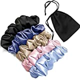 Mommesilk 5pack Silk Hair Scrunchies for Curly Hair Large 100 Silk Ponytail Holder Elastic Bobbles Hair Ties Band for Women Sleep Random Colors