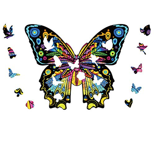 KRLCR Puzzle Holz Puzzle Schmetterling Puzzle,Holzpuzzle Mysteriöses Schmetterlingnpuzzle Geschenk Für Erwachsene Kinder