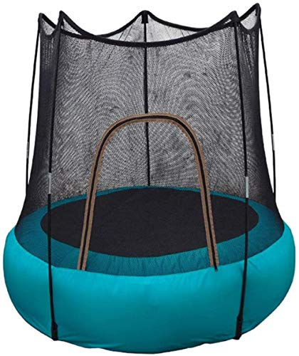 Opblaasbare trampoline Binnen- en buitenspeelgoed met veiligheidsbehuizingsnet en 360 ° opgevulde handgreep Trampolines voor kinderen Zwart Et blauw 118X118x112cm(Upgrade)