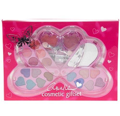 Casuelle Girls E538 Kit de maquillage compact pour enfant en forme de cœur 21 pièces