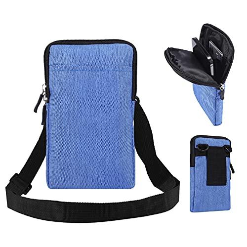 SZCINSEN - Borsa multifunzione per cellulare, borsa a tracolla da uomo, piccola borsa da viaggio, in tela, per iPhone 12 Pro Max, 11 Pro Max (colore: blu)