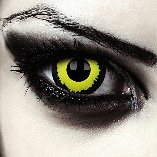 Schwarz gelbe Mini Sclera Kontaktlinsen 17mm Vampir Halloween Werwolf Kostüm Farblinsen + Gratis Kontaktlinsenbehälter (Black Hole)