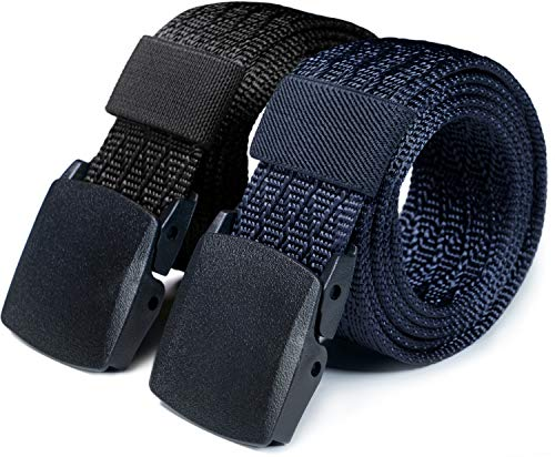 CQR Tactical Belt, Military Style Heavy Duty Belt, Lightweight Nylon Webbing EDC Buckle, 2pack Plastic Full Cover Black/Navy, M[w32-34]
