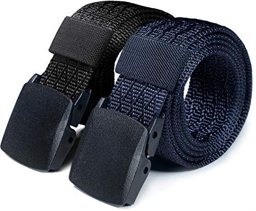 CQR CLSL Tactical Belt, Military Style Heavy Duty Belt, Lightweight Nylon Webbing EDC Buckle, 2pack Plastic Full Cover(mzt22) - Black/Navy, XL[w40-42]