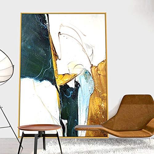 wZUN Pintura al óleo Abstracta luz Estilo de Lujo Sala de Estar Fondo Pintura de Pared Entrada Simple Comedor 60x60 Sin Marco