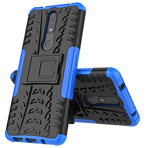 MingMing Funda para Nokia 2.4 Fundas Carcasa Tough Armor Series Robusta Armadura Híbrida TPU+PC, Bumper Case Cover para Nokia 2.4-Azul