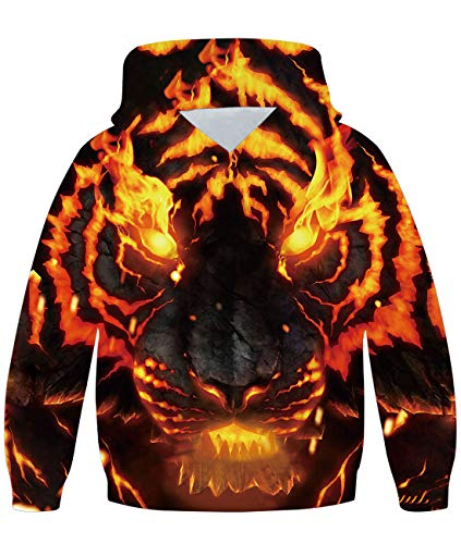 Freshhoodies Kinder Hoodie Lustig 3D Tiger Gedruckt Kapuzenpullover Galaxy Jungen Langarm Sweatshirt Hoodies Bedrucken Pullover Sweater Outwear 11-14 Jahre