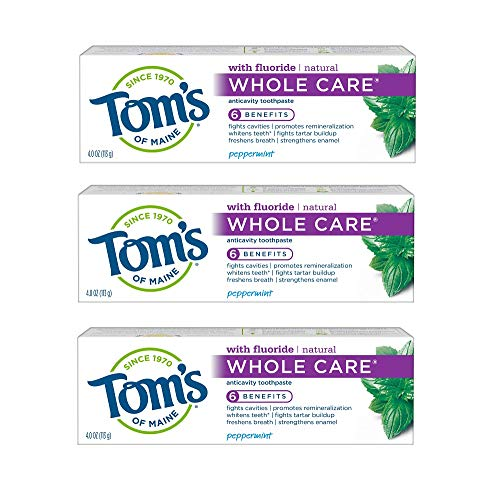 Tom's of Maine Whole Care Natural Toothpaste with Fluoride, Peppermint, 4 oz. 3-Pack