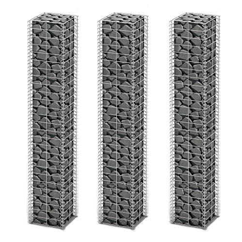 Tidyard 3X Steingabione/Steinkorb/Gabione, aus Verzinktem Stahl, 25 x 25 x 150 cm (L x B x H) (3 Stück)