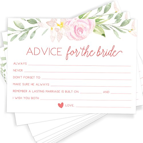 Printed Party Advice for The Bride, Set of 50 Cards, Bridal Shower Game and Activity, Unique, Fun and Easy to Play