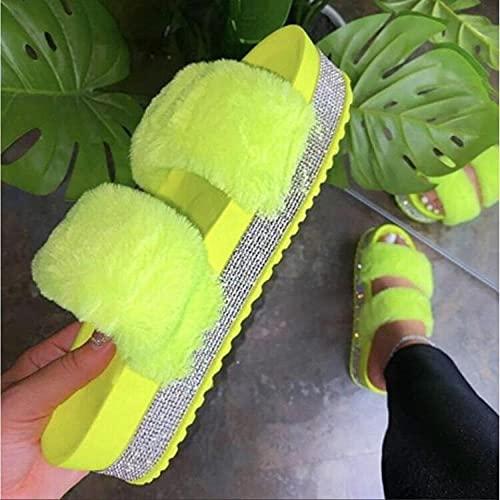 YYFF Zapatillas de Moda de Verano,Sandalias de Gran tamaño, Taladro de Agua de Felpa Grueso-Amarillo_39,Sandalia Tipo Chancla con