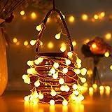 Cuerda Luces - 80 Bombilla 10M Guirnarldas Blancas de Luz Cálida LED Luces del Efecto Estrellado para Decoración Interior Jardines Casas Boda Fiesta de Navidad