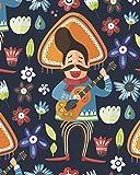 Fiesta Notebook: Funny Cinco de Mayo Celebration - Mexican Folk Art Journal for Women Men - Blank Wide Ruled Note Book with Bonus Password Tracker - 8'x10'