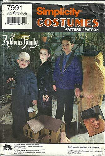 Patrón de costura Simplicidad 7991, niño de familia de Addams disfraz, tamaño a (SM-LG)