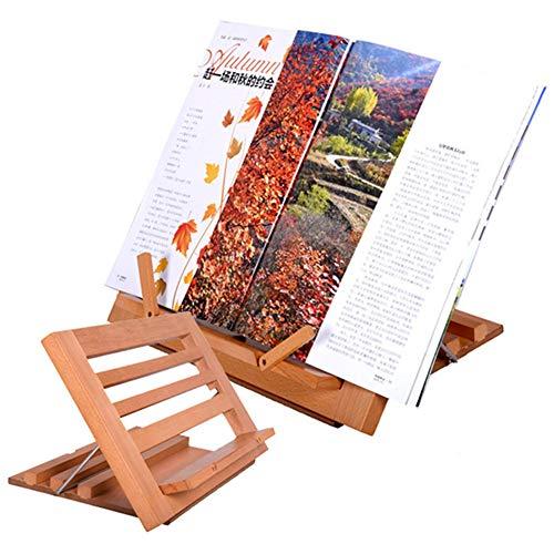 HOG Soporte para Libros de Madera, Estable, Resistente, de pie en Varios ángulos, fácil de Transportar, Ligero, Adecuado para partituras, Recetas