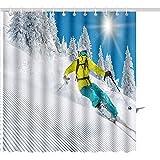 Cortina De Ducha Freeride En Polvo Fresco Esquí De Nieve Juegos De Baño De Poliéster con Estampado Gráfico Y Ganchos 122X183CM