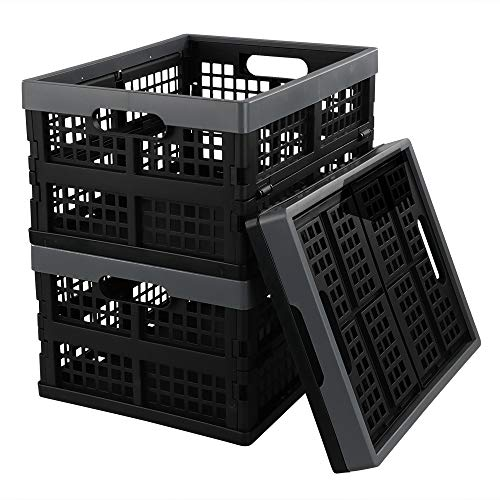 Lesbye Juego de 3 Cajas de Plástico Plegables, Caja de Almacenamiento sin Tapadera