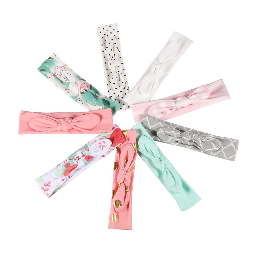 9pcs Baby Headbands Soft Cotton Solid Bow Bunny Ears Girl Hairband Cute Cherry Dot Pattern Hair Accessory