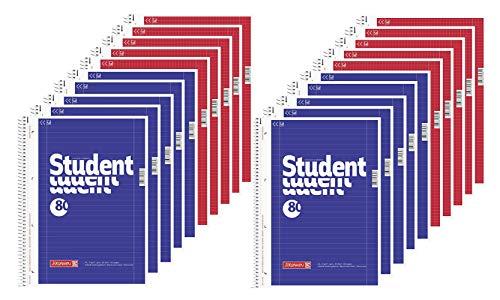 Brunnen 10 Collegeblöcke Student A4 Lineatur 27, liniert 80 Blatt + 10 Collegeblöcke Student A4 Lineatur 28 kariert, 80 Blatt weiß (20 Blöcke)