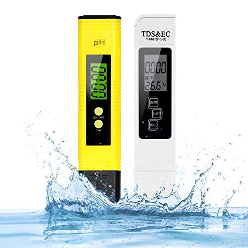 pH Messgerät, TDS Messgerät, Mture Leitwertmessgerät mit Hoher Genauigkeit und LCD Display, PH Wert TDS EC und Temperatur 4 in 1 Set ATC Tester für Trinkwasser/Schwimmbad/Aquarium/Pools/Labor