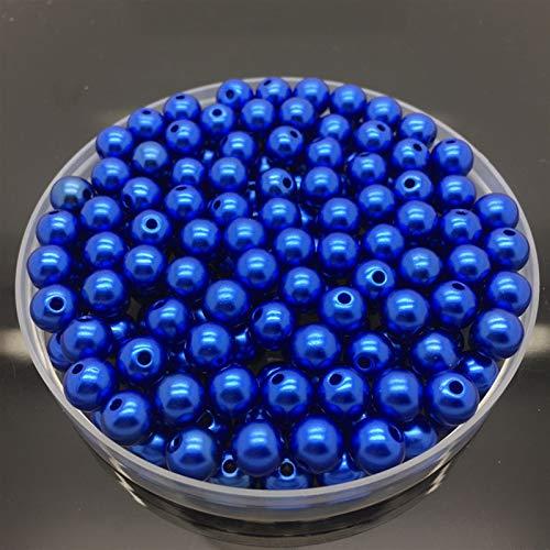 4 6 8 10mm Perlas de imitación Acrílico Redondo Perla Espaciador Separado Perlas Sueltas DIY Joyería Maquillaje Collar Pulsera Pendientes Accesorios (Color : Blue, Item Diameter : 6mm 100pcs)