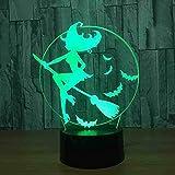 7 cambios de color con los titulares de la lámpara de luz nocturna LED 3D Lámpara de interruptor táctil Lámpara de mesa para niños Regalo de Navidad